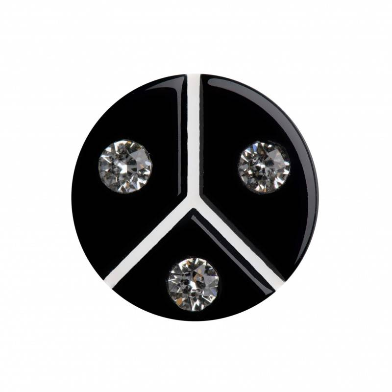 Medium size round shape Metal free earring in Black and white shiny finish
