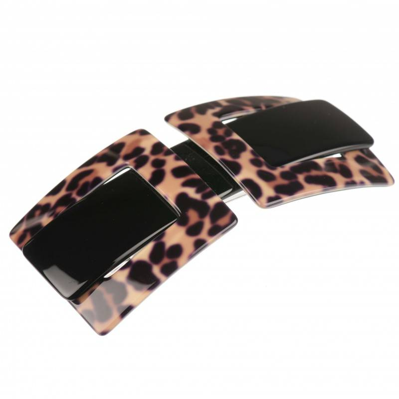 Medium size rectangular shape Hair barrette in Multicolor shiny finish