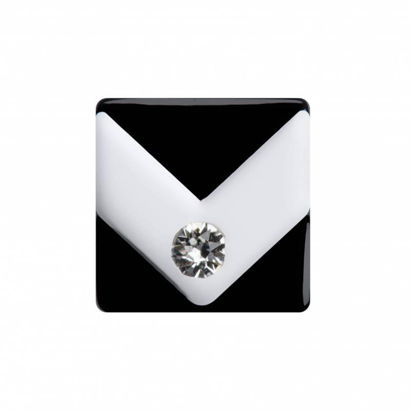 Medium size square shape Metal free earring in White and black shiny finish