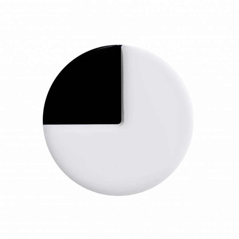 Medium size round shape Metal free earring in White and black shiny finish