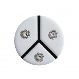 Medium size round shape Metal free earring in White and black