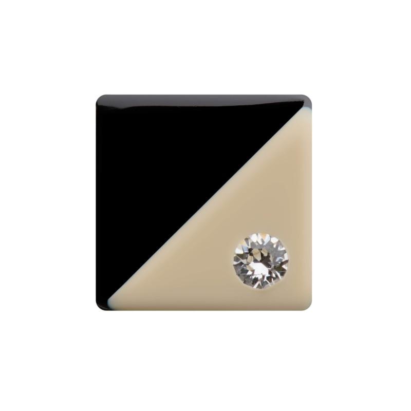 Medium size square shape Metal free earring in Ivory and black shiny finish