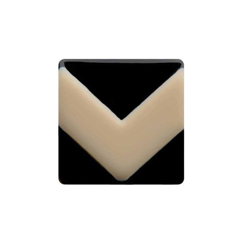 Medium size square shape Metal free earring in Ivory and black shiny finish