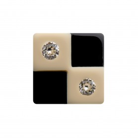 Medium size square shape Metal free earring in Ivory and black