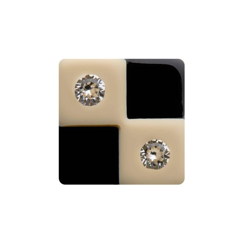 "Healthy fashion earring (1 pcs.) ""Beige Chessboard"""