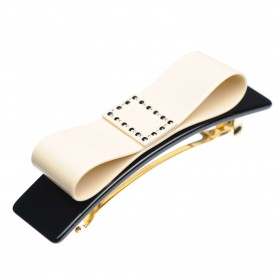 Medium size bow shape Hair barrette in Ivory and black