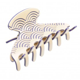 Medium size regular shape Hair jaw clip in Ivory and violet
