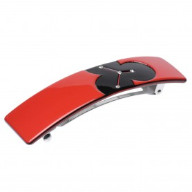 Medium size rectangular shape Hair barrette in Marlboro red and black