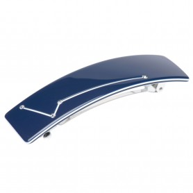 Medium size rectangular shape Hair barrette in Blue and white