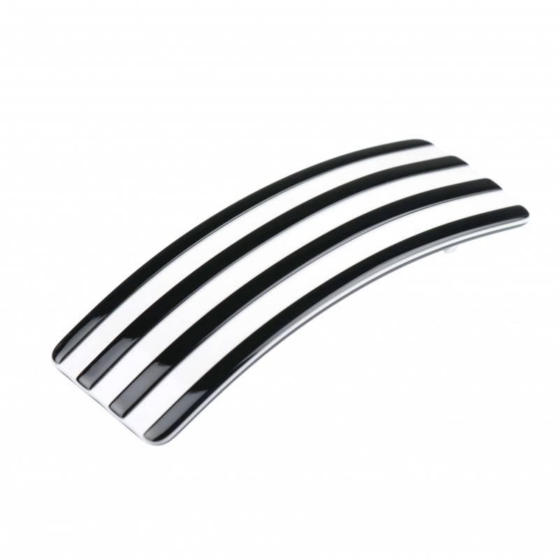 Medium size rectangular shape Hair barrette in Black and white shiny finish