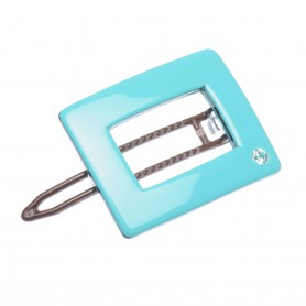 Small size rectangular shape Hair clip in Turquoise and black