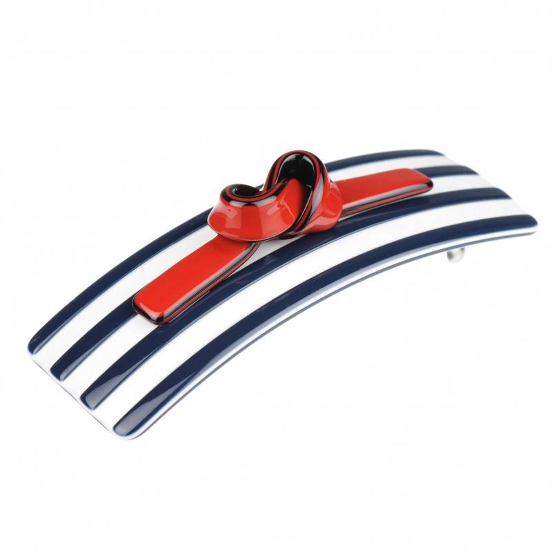 Medium size knot shape Hair barrette in Blue and white shiny finish
