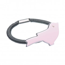 Small size bird shape Hair elastic with decoration in Pink and black