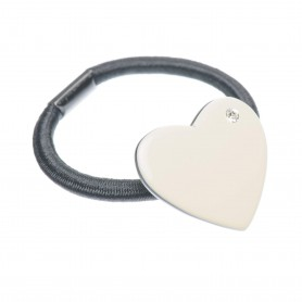 Medium size heart shape Hair elastic with decoration in Ivory and black