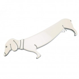 Medium size dog shape Hair barrette in Ivory and black
