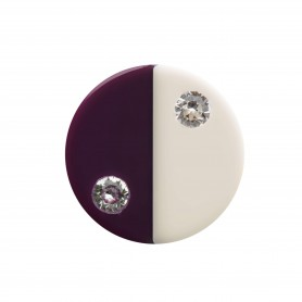 Medium size round shape Metal free earring in Ivory and violet