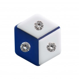 Medium size hexagon shape Metal free earring in White and blue