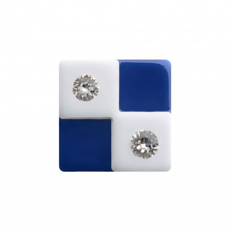 "Healthy fashion earring (1 pcs.) ""White Checkmate"""