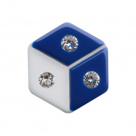 Medium size hexagon shape Metal free earring in Blue and white