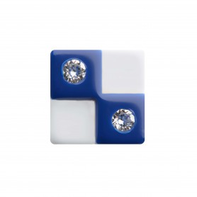 Medium size square shape Metal free earring in Blue and white