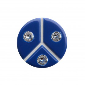 Medium size round shape Metal free earring in Blue and white
