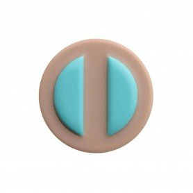 Medium size round shape Metal free earring in Turquoise and hazel
