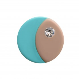 Medium size round shape Metal free earring in Hazel and turquoise