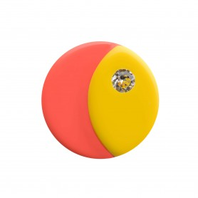 Medium size round shape Metal free earring in Yellow and coral