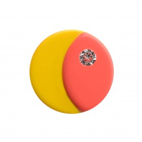 Medium size round shape Metal free earring in Coral and yellow