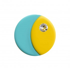 Medium size round shape Metal free earring in Yellow and turquoise