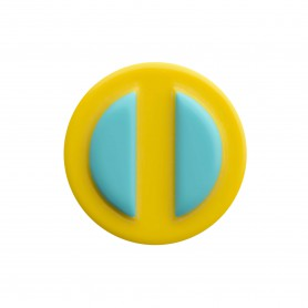 Medium size round shape Metal free earring in Turquoise and yellow