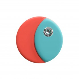Medium size round shape Metal free earring in Turquoise and coral