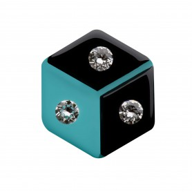 Medium size hexagon shape Metal free earring in Black and turquoise