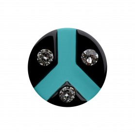 Medium size round shape Metal free earring in Black and turquoise