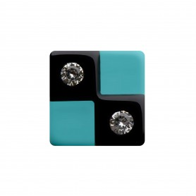 Medium size square shape Metal free earring in Black and turquoise