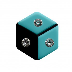Medium size hexagon shape Metal free earring in Turquoise and black