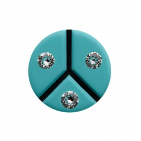 Medium size round shape Metal free earring in Turquoise and black