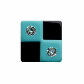 Medium size square shape Metal free earring in Turquoise and black
