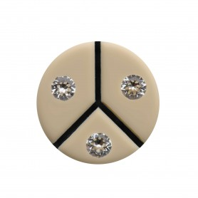 Medium size round shape Metal free earring in Ivory and black