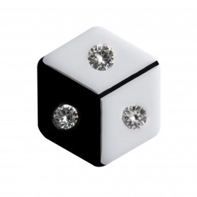 Medium size hexagon shape Metal free earring in White and black