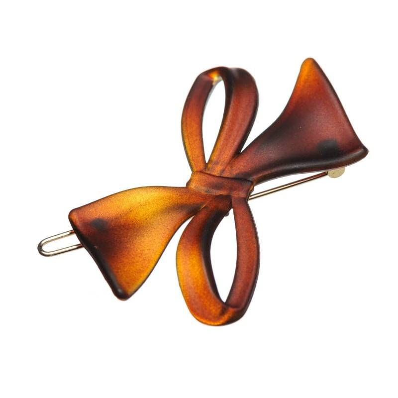 Small size bow shape Hair clip in Brown matte finish