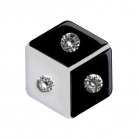Medium size hexagon shape Metal free earring in Black and white