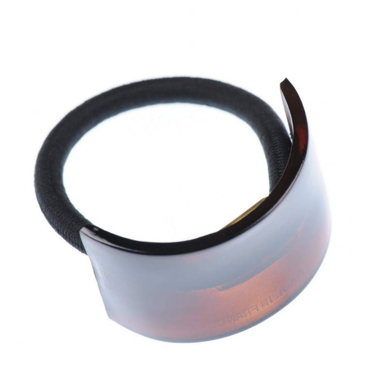Medium size rectangular shape Hair elastic with decoration in Brown shiny finish