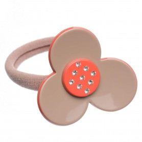 Medium size flower shape Hair elastic with decoration in Hazel and coral