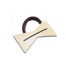 Medium size bow shape Hair elastic with decoration in Ivory and black