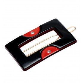Small size rectangular shape Hair clip in Black and marlboro red