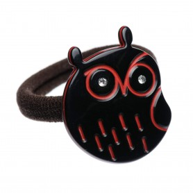 Medium size owl shape Hair elastic with decoration in Black and marlboro red