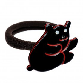 Medium size bear shape Hair elastic with decoration in Black and marlboro red
