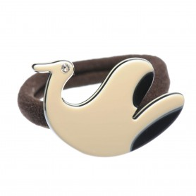 Medium size bird shape Hair elastic with decoration in Ivory and black