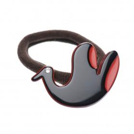 Medium size bird shape Hair elastic with decoration in Black and marlboro red